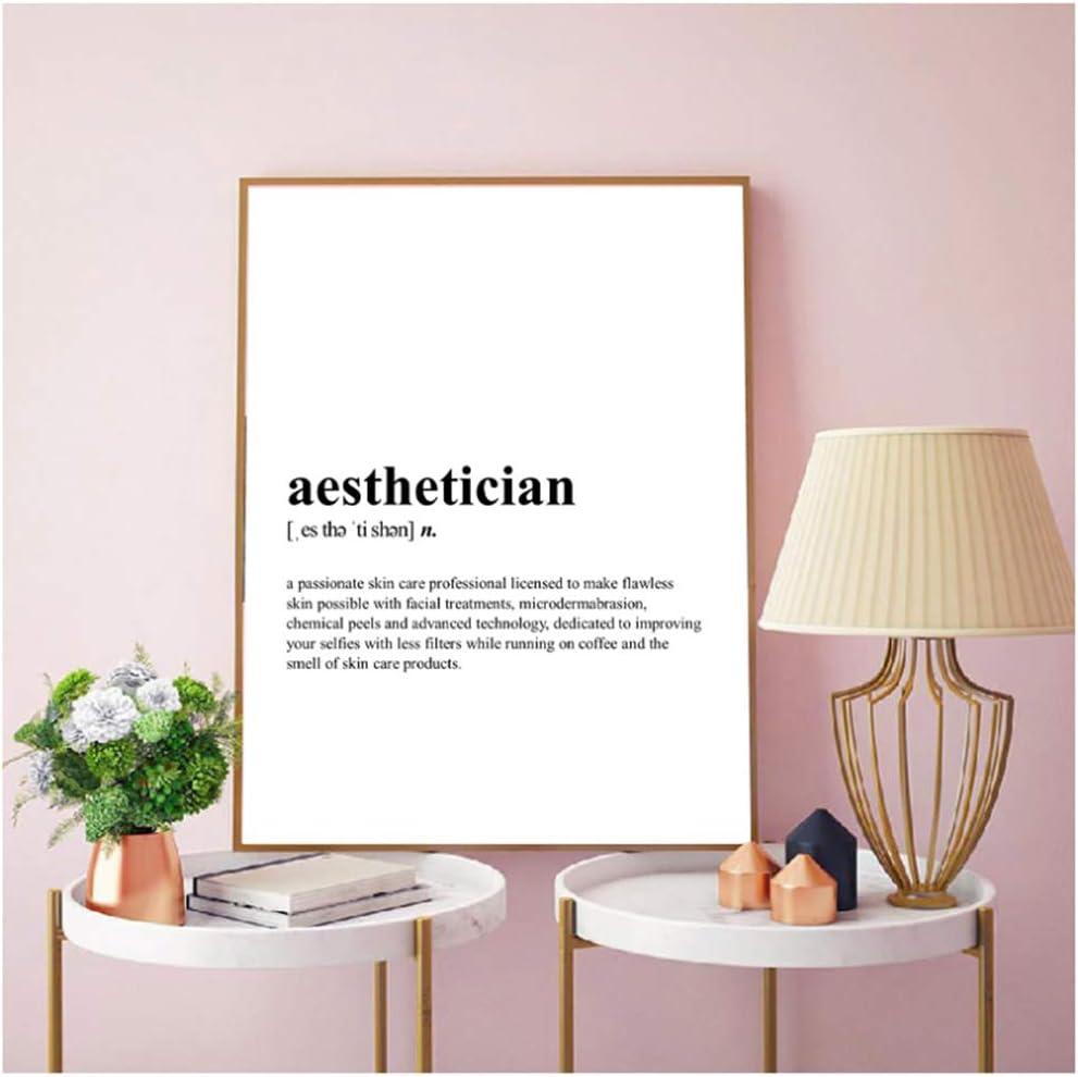 KONGQTE Aesthetician Definition Canvas Print Skin Care Spa Quote Poster Esthetician Gift Spa Beauty Salon Wall Art Decor -50x70CM no Frame