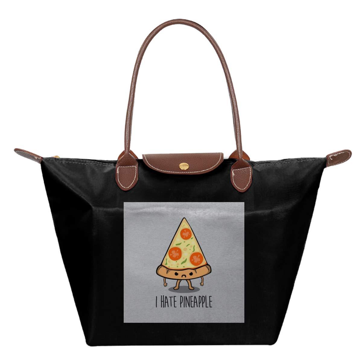 I Hate Pineapple Pepperoni Pizza Waterproof Leather Folded Messenger Nylon Bag Travel Tote Hopping Folding School Handbags