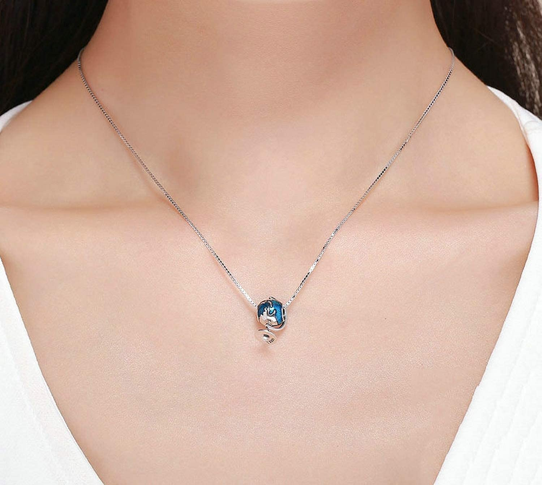 EverReena Beads Blue Enamel Charm World Tellurion for Silver Bracelets