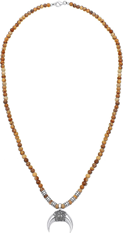 Kuzzoi 0101940819_60 - Collar de Buda para hombre de 4 mm, ágata marrón, piedras preciosas, perlas y colgante de media luna, así como elementos de abalorios de plata de ley 925, longitud 60 cm