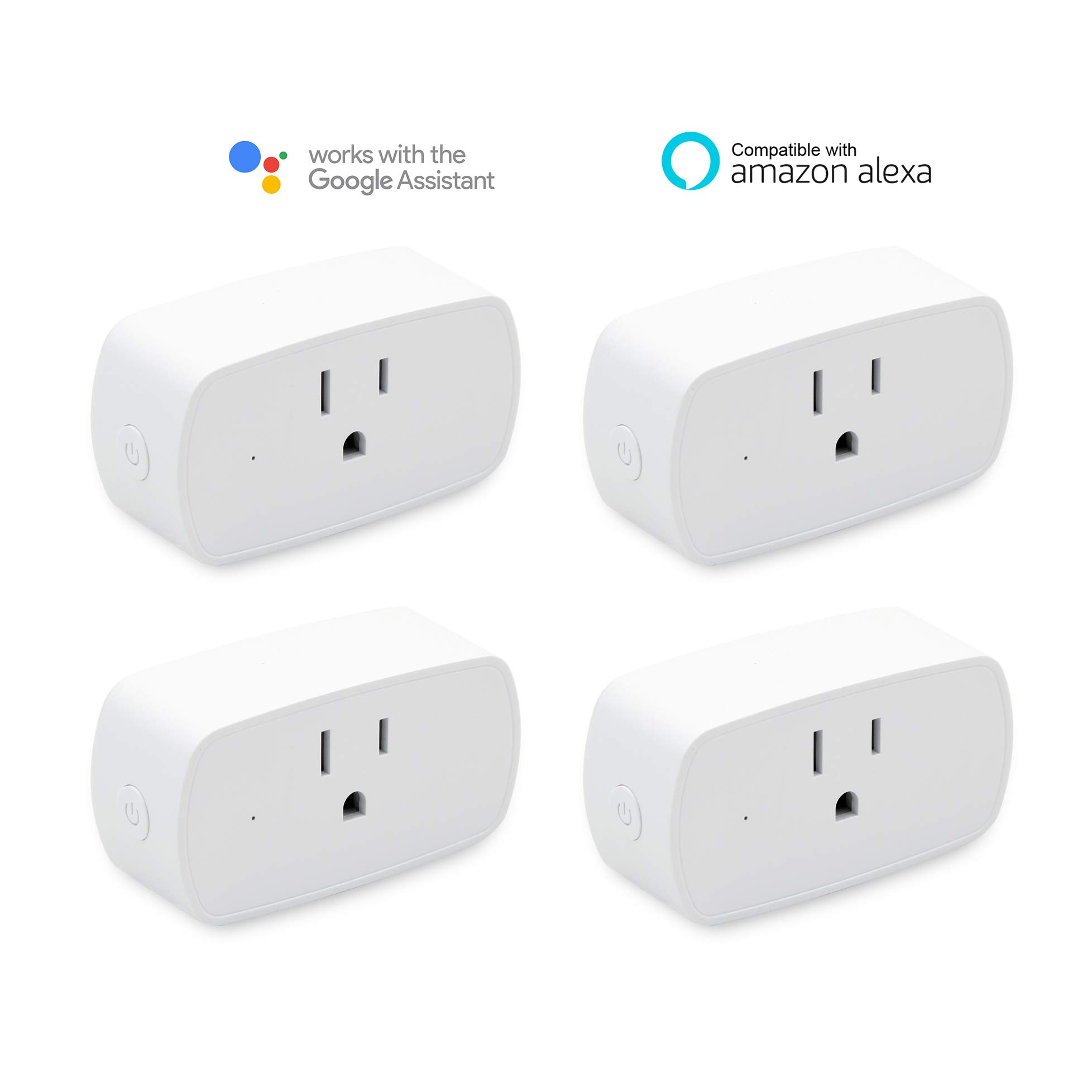 Smart Wifi Plug Compatible with Amazon Alexa Echo, No Hub Required, Smart home WiFi Wireless Energy Save, Remote Control Light Switch Socket, White MICMI (Smart Wifi Plug 4pack)