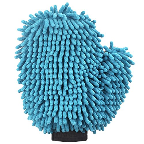 Mitt, Highly Absorbent Dog Towel Mitt / Car Wash Mitten / Dog Bath Glove , Blue (Paw Cleaning Mitt)
