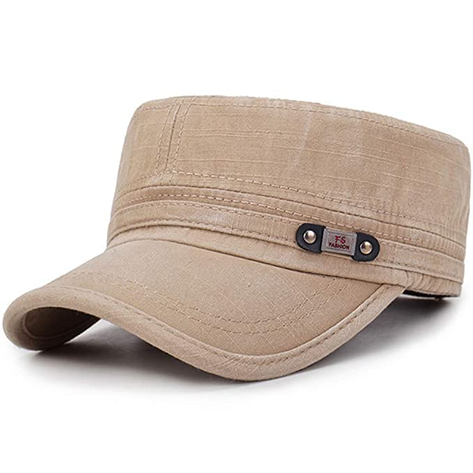 60e16cb8 Men's Washed Cotton Flat Top Hat Outdoor Sunscreen Military Army Peaked Dad  Cap Khaki
