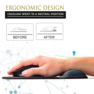 MROCO Ergonomic Mouse Pad with Gel Wrist Rest Comfortable Mouse Pad with Wrist Support, Pain Relief Mousepad with Non-Slip PU Base Mouse Mat for Home, Office & Travel, 9.4 x 8.1 inches, Black (Color: Black, Tamaño: 9.4 x 8.1 inches)