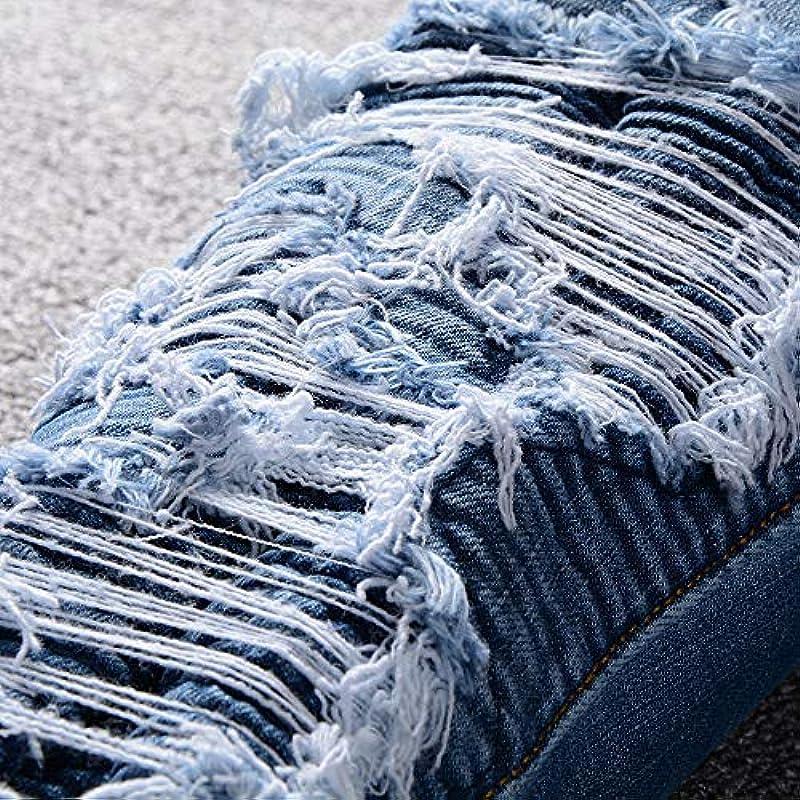 Męskie spodnie jeansowe Blue Patchwork Ripped Denim Distressed Stretch: Odzież