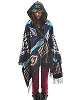 LATH.PIN Mélange de laine à capuche cape Blanket Manteau Cape Echarpe Epaisse Poncho de Femmes Foulard Couverture Chaud