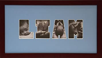 baby photo name collage frame blue - Name Picture Frames