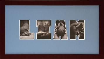 Amazon.com : Baby Photo Name Collage Frame (Blue) : Baby Keepsake ...