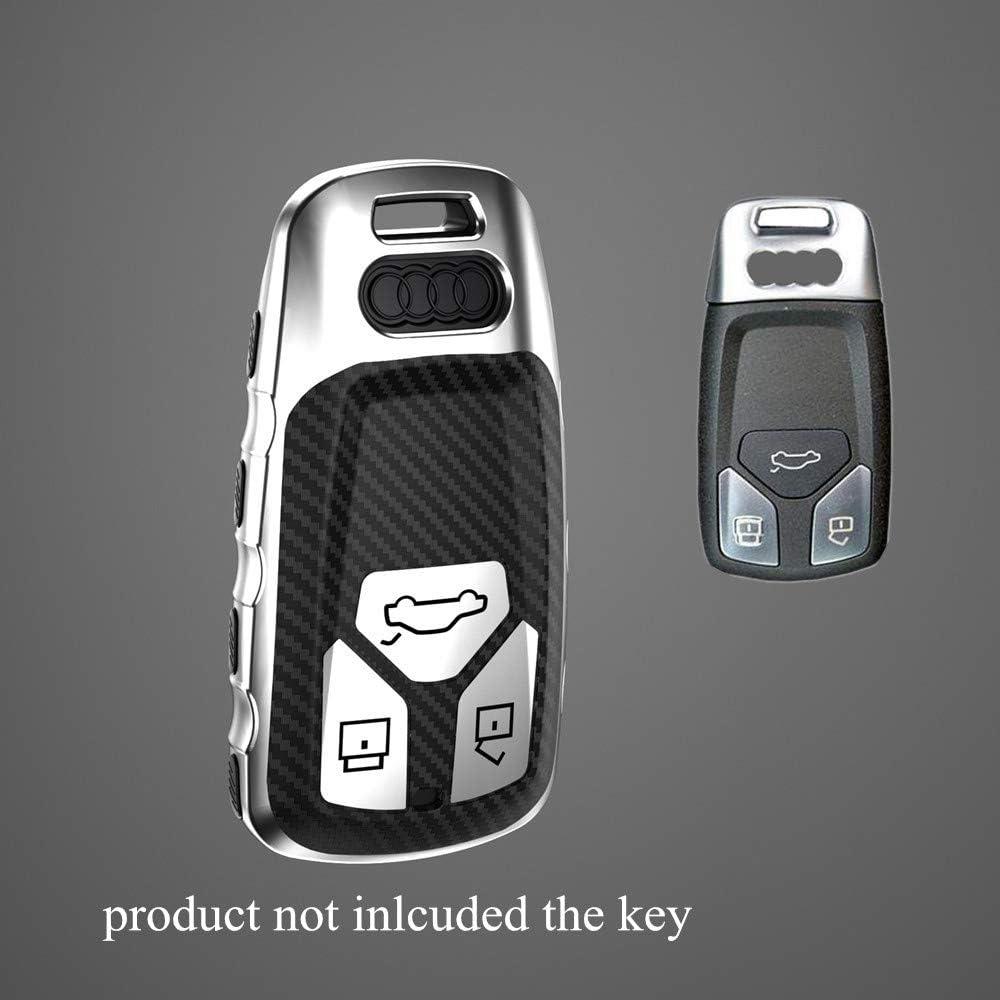 Black Hyunkey TPU Keychain for Audi 2017 2018 2019 A4 Q7 Q5 TT A3 A6 SQ5 R8 S5 Key Fob Shell case