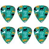 Crazy Cat Lady Teal Orange Black Brown Novelty Guitar Picks Medium Gauge - Set of 6
