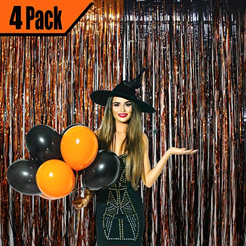 GIFTEXPRESS 4 Pack 36 X 100 Black and Orange Metallic Foil Fringe Curtain for Halloween Party Decorations, Copper and Black Tinsel Backdrop, Rose Gold Photo Booth Props