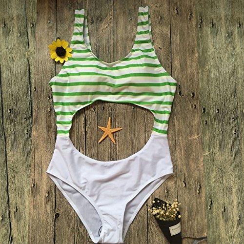 Women's Stripe Halter One-Piece Bikini Triangular Sexy Swimsuit