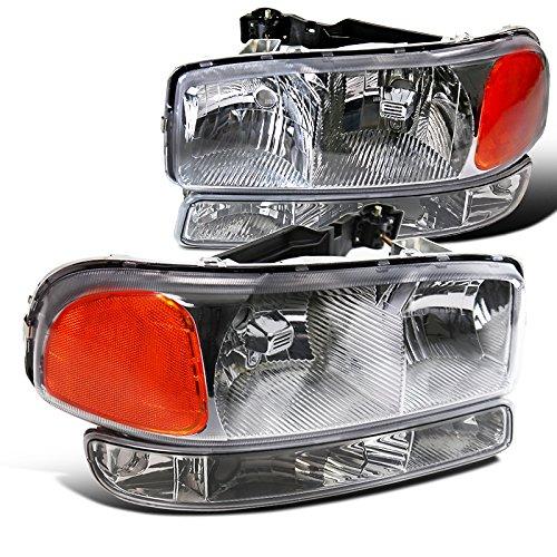 Spec-D Tuning 2LBLH-GMC99-RS Headlight (Chrome Euro With Bumper - Gmc Euro Headlights