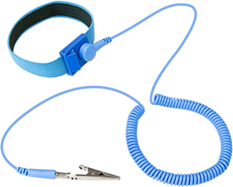 Anti-Static Wrist Strap Band Bracelet Grounding Wire Alligator Clip Wristband Q