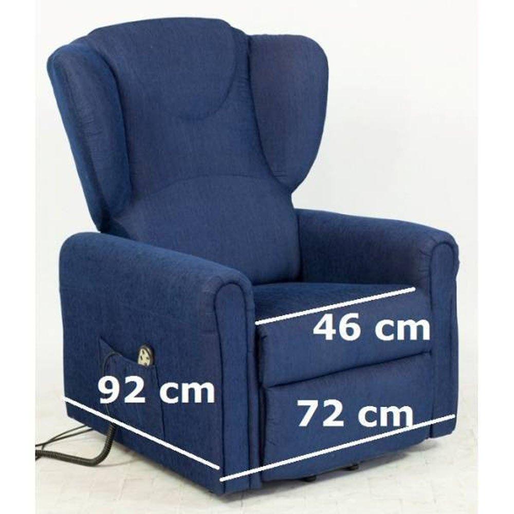 Sessel mit Aufstehhilfe MAGIC, 2 Motoren. Small. Dunkelblauer Stoffbezug