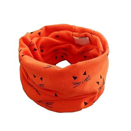 KOLY Otoño invierno Niños niñas collar del bebé bufanda de algodón Cuello  redondo Bufandas Linda Gato 0d293dc4f61