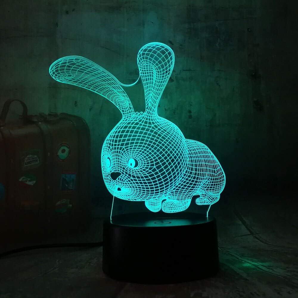 yuandp Dibujos Animados 3D Iluminación LED Animal Conejo Acrílico ...