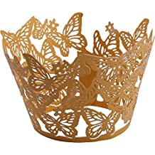 DriewWedding 50PCs Butterfly Pattern Hollow Artistic Bake Cake Cupcake Wrappers Paper Cups Liner for Wedding Birthday Tea Party Baby Shower Food Decoration (Gold)
