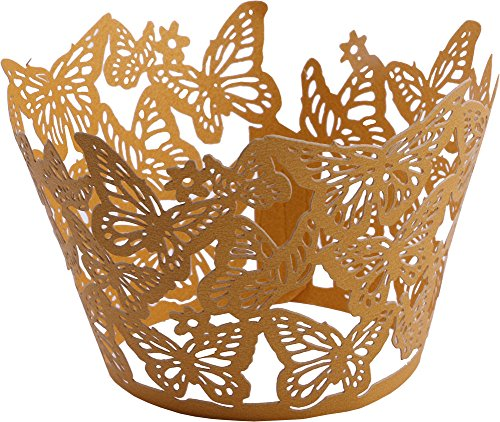 (DriewWedding 50PCs Butterfly Pattern Hollow Artistic Bake Cake Cupcake Wrappers Paper Cups Liner for Wedding Birthday Tea Party Baby Shower Food Decoration (Gold))