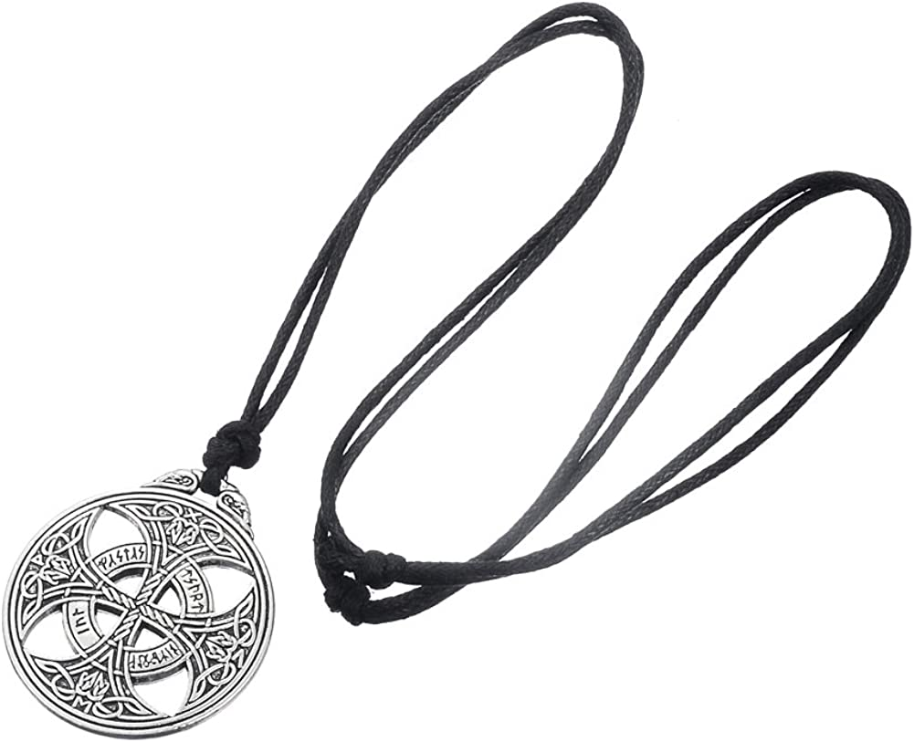 Lemegeton Nordic Croix Celtique Collier Pendentif Amulette avec Norse Runes N/œud damour