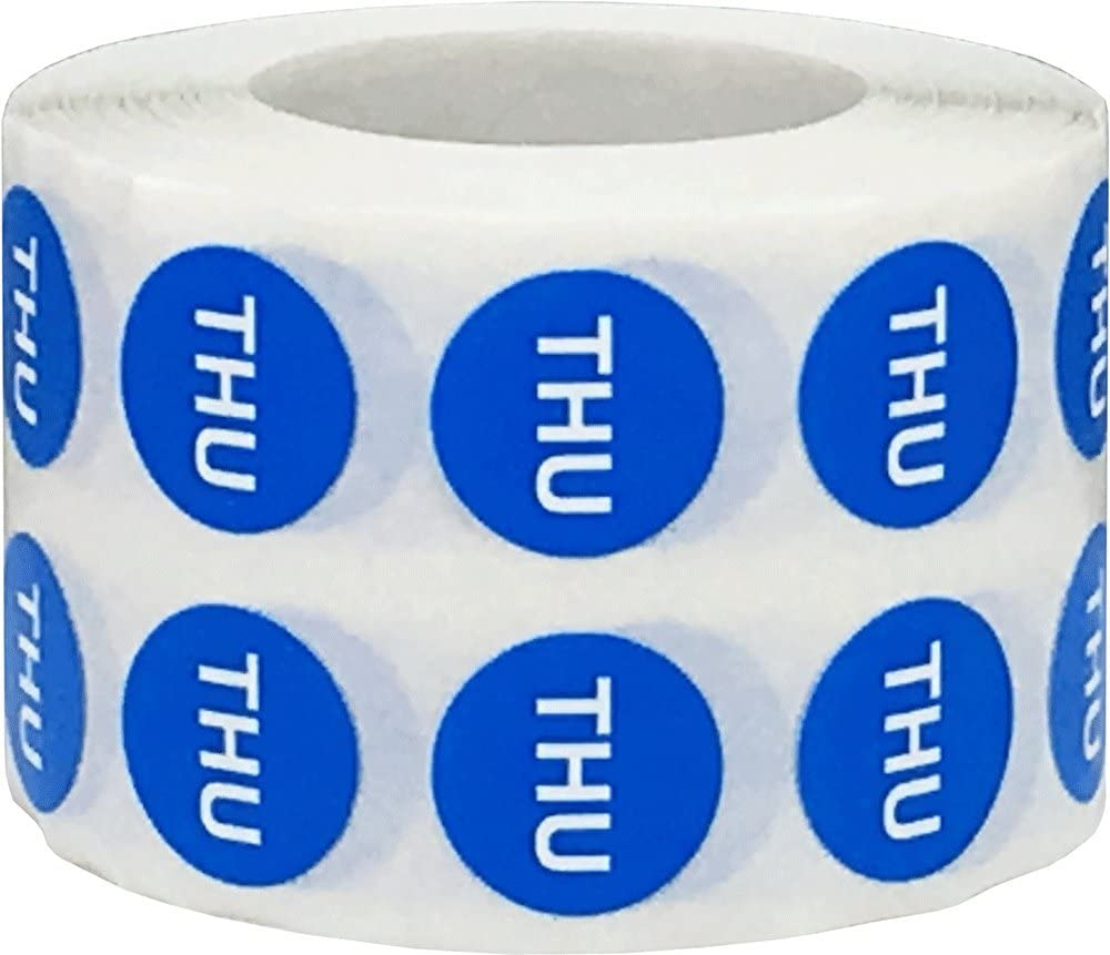 Blue Circle Thursday Stickers, 1/2 Inch Round, 1000 Labels on a Roll