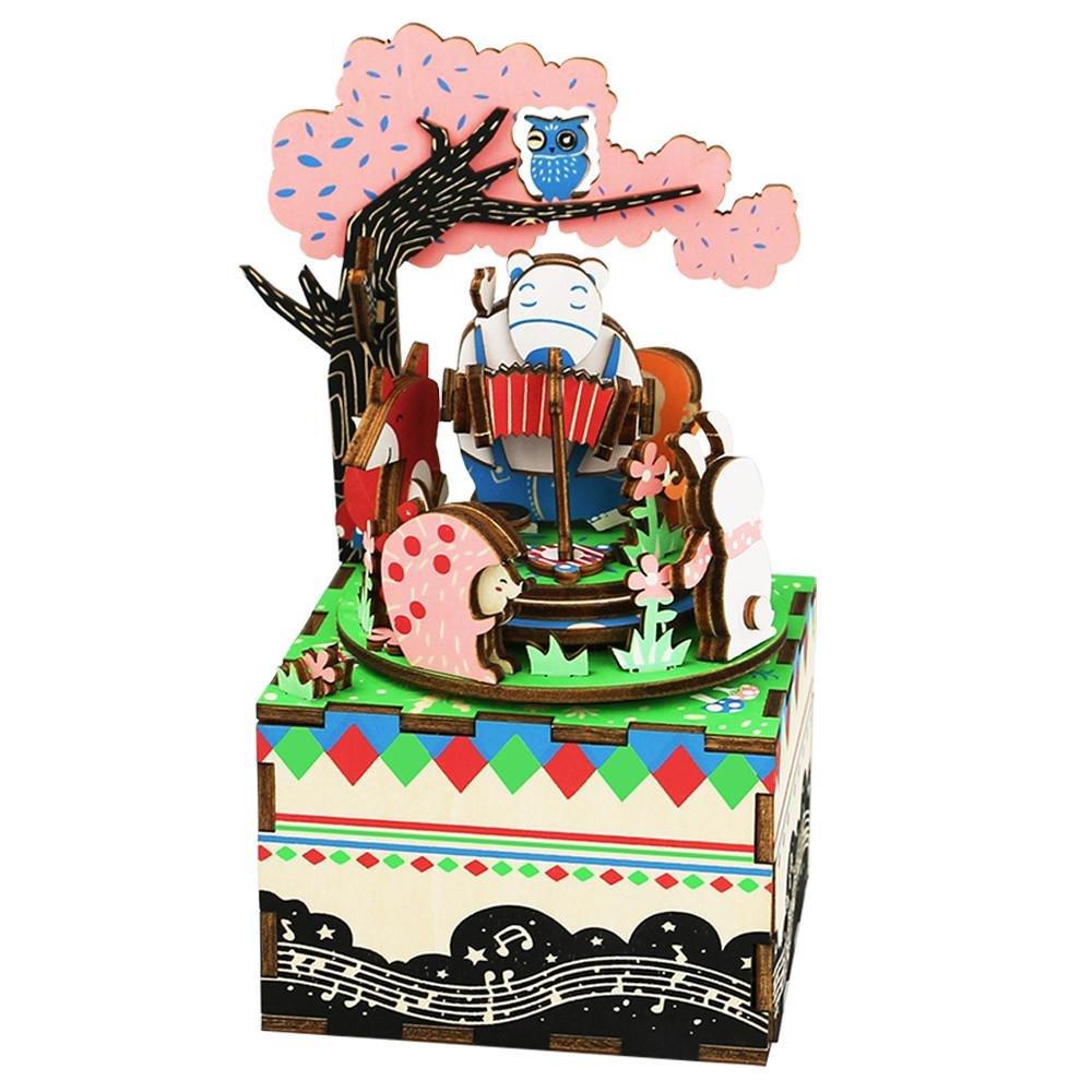 JLA 3D-Wood Puzzle Cartoon Wald Konzert Musikbox, Baukasten Für Kinder Oder Erwachsenen Spielzeug, 88  101  156MM