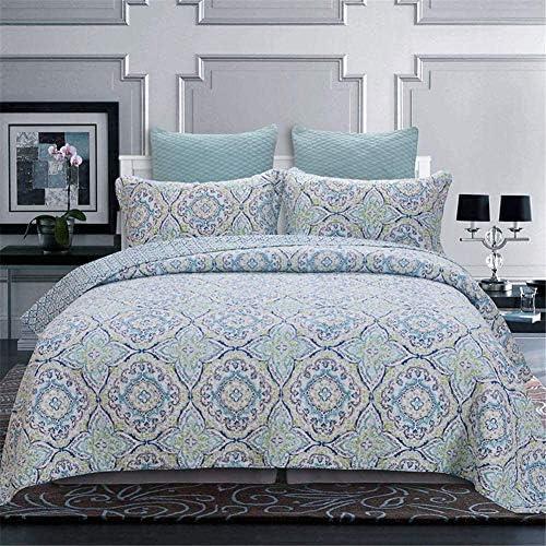 GJXY Couvre-lit Chambre 230x250 cm, Jeu de 3 pièces Motif de Fleurs piquées avec Couvre-lit Deux taies d'oreiller 100% Coton,230 * 250cm