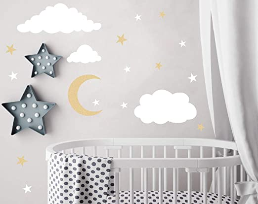 Amazon.com: Easu Clouds Sky Wall Vinyl Wall Decals Moon and Stars