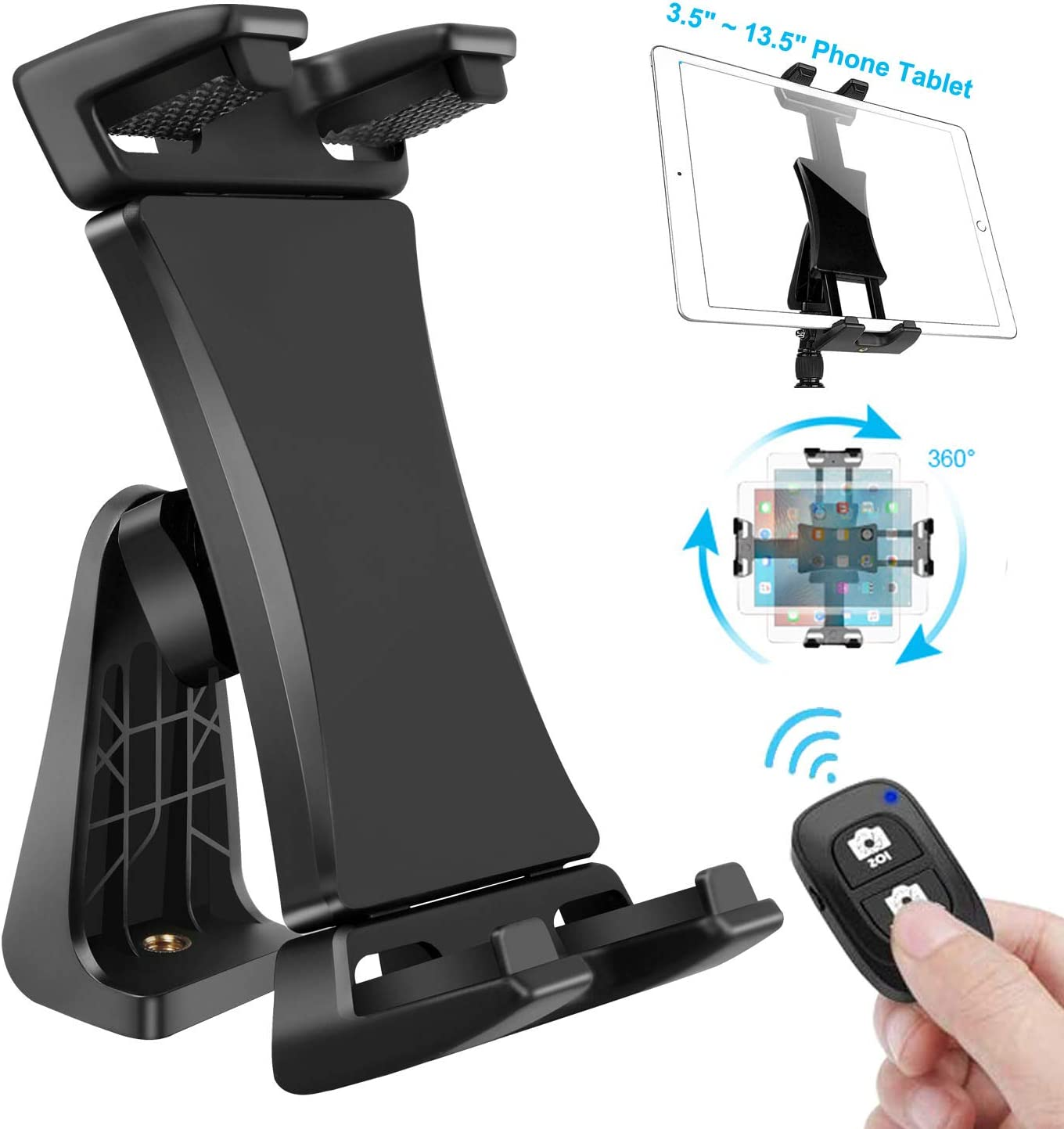 IPad Tablet Tripod Mount Adapter 360 Degree Rotatable Universal Clamp Holder with Bluetooth Remote for iPad Pro 12.9 11 10.5, iPad Air Mini, Surface Tab, Galaxy Tab and 3.5 to 13.5in Phone Tablets
