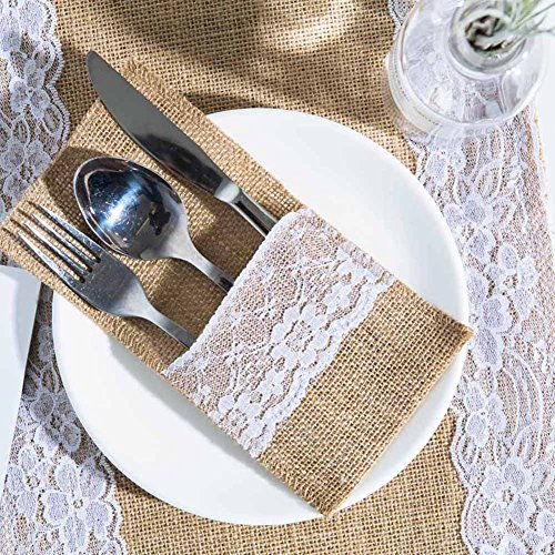 ARKSU Burlap Lace Utensil Holders 200 Packs Silverware Cutlery Pouch Knifes Forks Bag for Vintage Natural Wedding -