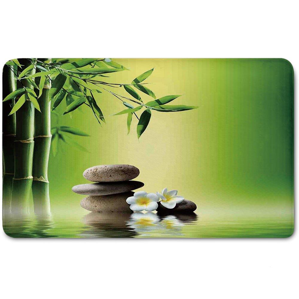 Memory Foam Bath Mat,Bamboo Spa Decor,Japanese Therapy Relaxation Stones Frangipani FlowersPlush Wanderlust Bathroom Decor Mat Rug Carpet with Anti-Slip Backing,
