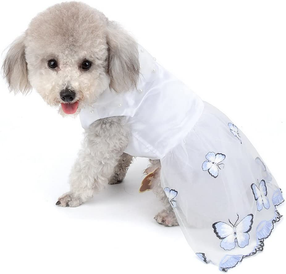 Pet White Princess Dress for Small Dog Girl Tulle Tutu Skirt Wedding Puppy Clothes Blue Butterfly XL New 2018 SELMAI