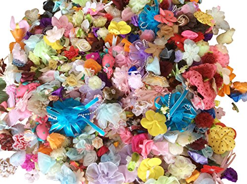longshine-us 125g Mix Bulk Ribbon Flowers Bows Craft Wedding Ornament Appliques Mix style, mix size, mix color for DIY Craft