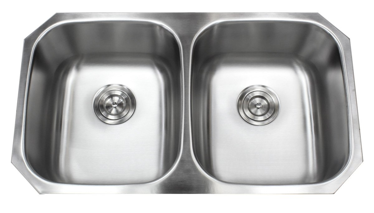 Kingsman 32-1/4 inch 18 Gauge Stainless Steel Undermount Double Bowl (50/50) Kitchen Sink (Sink Only)
