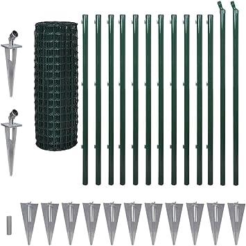 fzyhfa valla Euro con piquetes 25 x 1,2 m de acero Verde diseño Bonito, resistente y fiable también resistente valla jardín barreras Externas: Amazon.es: Bricolaje y herramientas