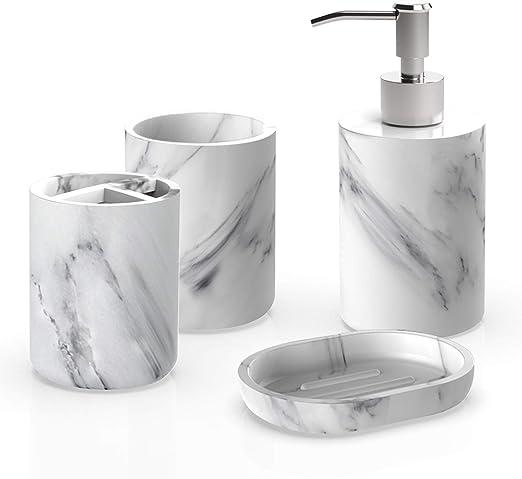 Amazon Com Heylian Bathroom Accessories Set Marble Design Look 4