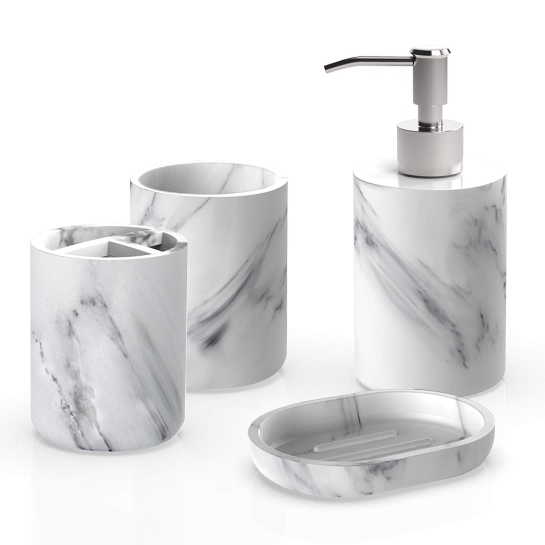 Heylian Bathroom Accessories Set, 4 Pieces Bath Ensemble, Bath Set Collection Marble Pattern Soap Dispenser Pump, Toothbrush Holder, Tumbler, Soap Dish