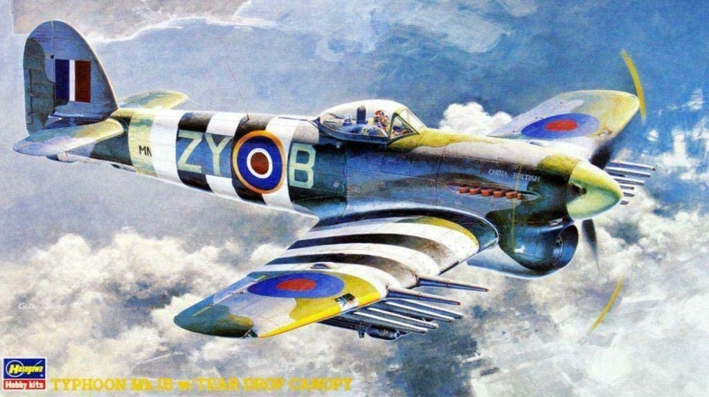Hasegawa 1/48 Scale British Hawker Typhoon Mk.Ib with Tear Drop Canopy Fighter Bomber - Aircraft Plastic Model Building Kit #09060