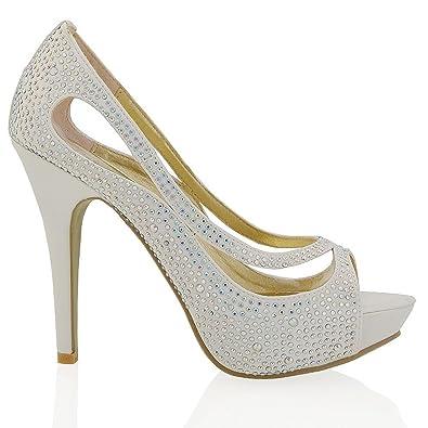 ESSEX GLAM Womens Platform High Heel Peep Toe Ivory Satin Diamante Bridal Prom Shoes 6 B