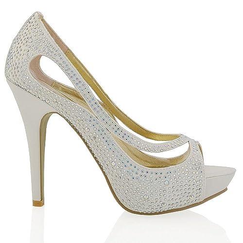 Amazon Com Esglam Womens Platform High Heelp Toe Satin Diamante Bridal Prom Shoes Pumps