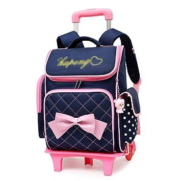 XHHWZB Rolling Backpack para niñas con Estuche de lápices y loncheras Mochilas Escolares Trolley Mochilas con Ruedas (Color : Azul Oscuro): Amazon.es: ...