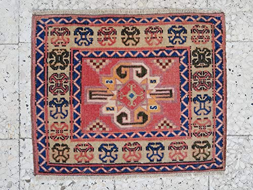 Nearly Square Table Mat, Wall Hanging Tapestry, Unique Carpet, Caucasian Kazak Geometric Rugs, Mini Contemporary Rug 24'' X 20'' (62 x 50 Cm)