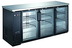 """UBB-24-72G 72"""" Narrow Glass Door Back Bar Cooler Stainless Steel Top and LED Lighting"""