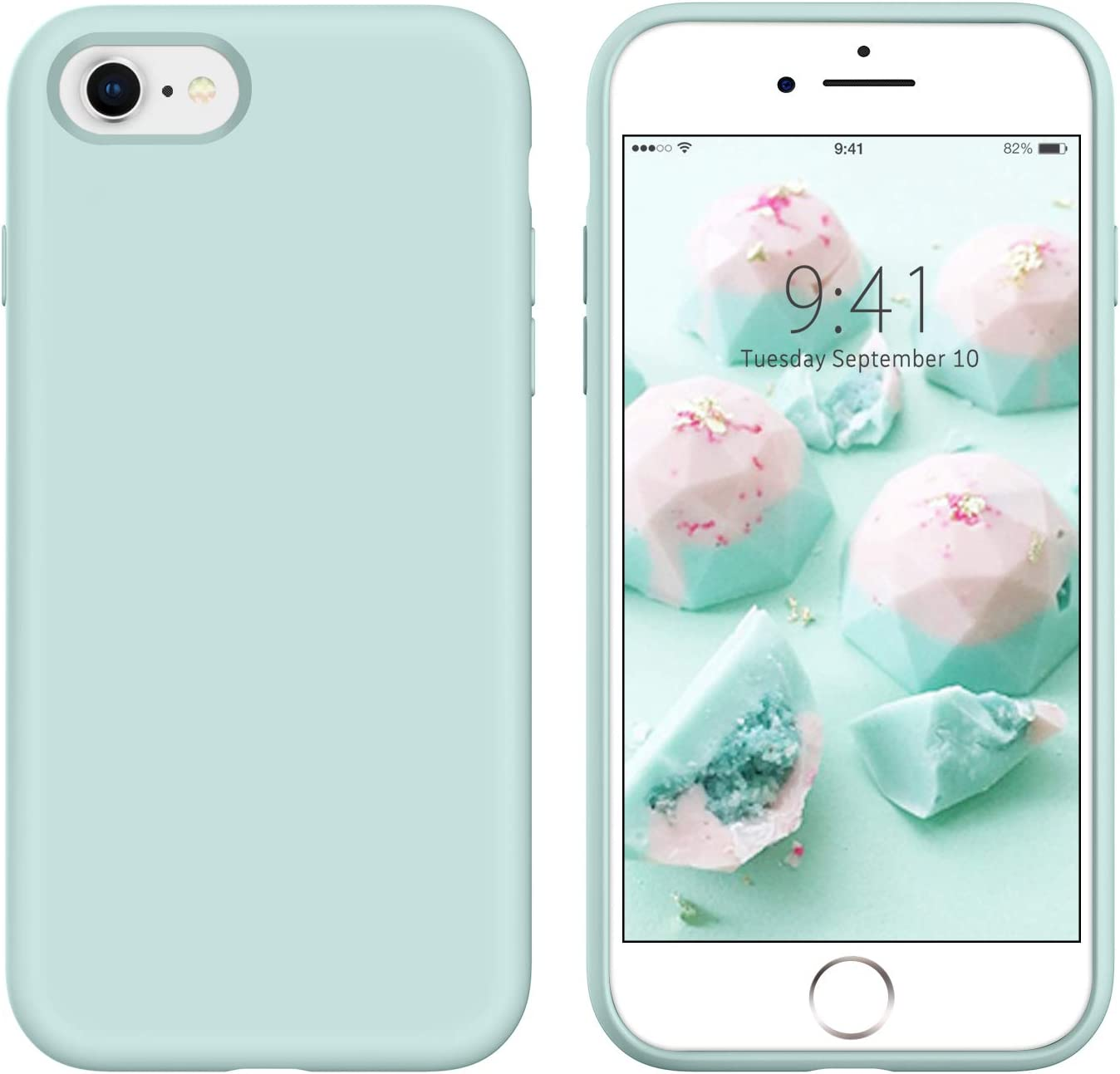 YINLAI iPhone SE 2020 Case iPhone 8 Case iPhone 7 Case Slim Liquid Silicone Hybrid Soft Rubber Shockproof Bumper Protective Phone Cover for iPhone SE 2nd Generation/8/7 Girls Women Pastel Summer Mint