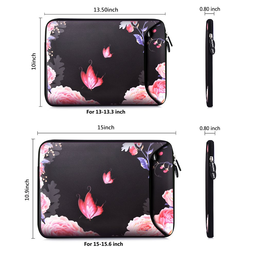 Sancyacc Laptop Sleeve, Sleeve Case Bag Cover for 13-13.3 Inch, Water-Resistant Neoprene Protective Case, Padded Portable Carrying Bag with Accessory Pocket for MacBook Air/Pro (FLYROSE)