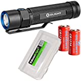Bundle: Olight S2 950 Lumen CREE LED Flashlight with 2X Olight CR123 lithium batteries and EdisonBright battery carry case