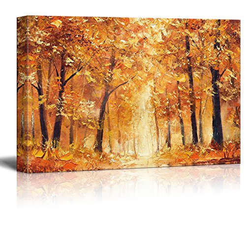 wall26 Canvas Wall Art - Abstract Yellow Oil Painting Style Trees in Forest - Giclee Print Gallery Wrap Modern Home Decor Ready to Hang - 32x48 inches ()