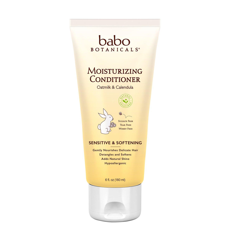 Babo Botanicals Moisturizing Conditioner, Oatmilk Calendula, 6 Ounce - Advanced Natural Family Haircare Treatment, Sensitive, Dry Hair & Scalp - Sulfate Free, Organic