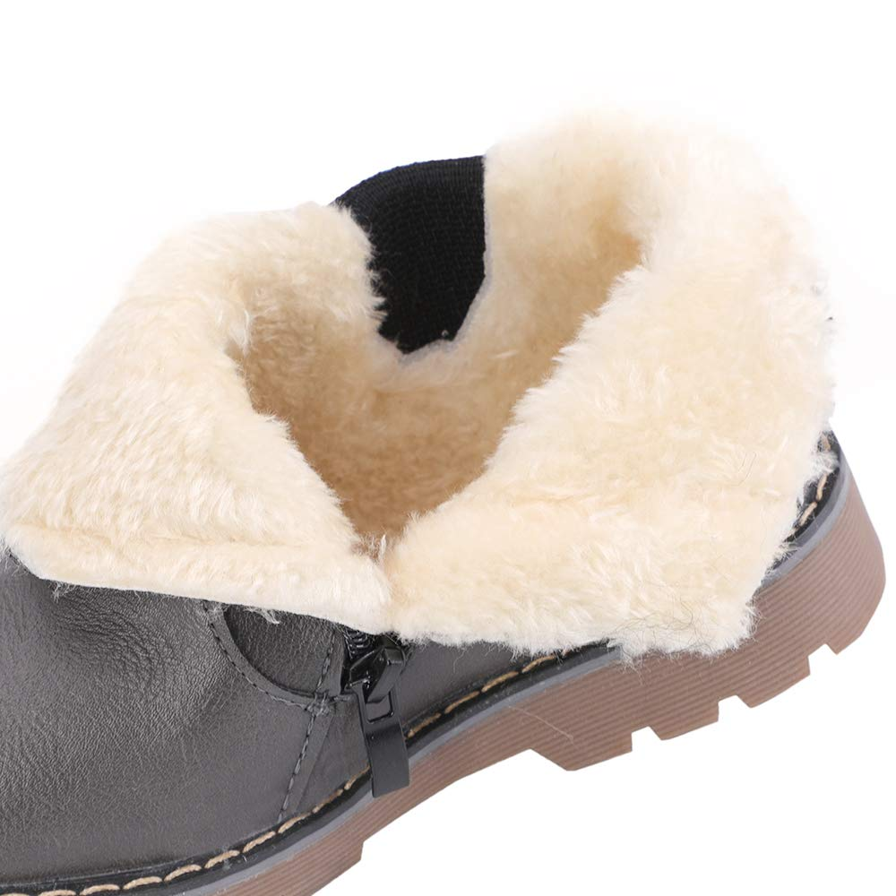 hiitave Kids Toddler Snow Boots Winter Warm Ankle Outdoor Fur Lined Shoes for Boys Girls