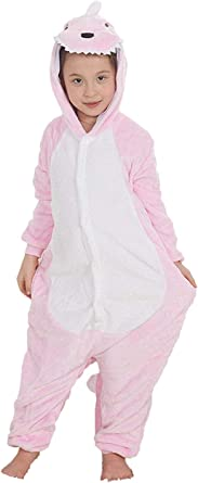 Niños Pijama Kigurumi Animal Cosplay Disfraces Animados Dinosaurio Rosa Ropa de Dormir para Unisex Altura Entre 9,0 y 1,48 m